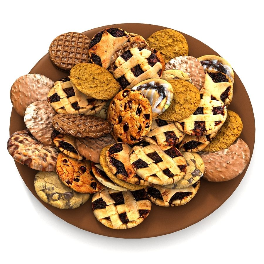 Bake Holiday Traditional Chocolate Cookies Sweet Mince On Plate Collection royalty-free 3d model - Preview no. 4