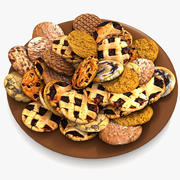 Bake Holiday Traditional Chocolate Cookies Sweet Mince On Plate Collection 3d model