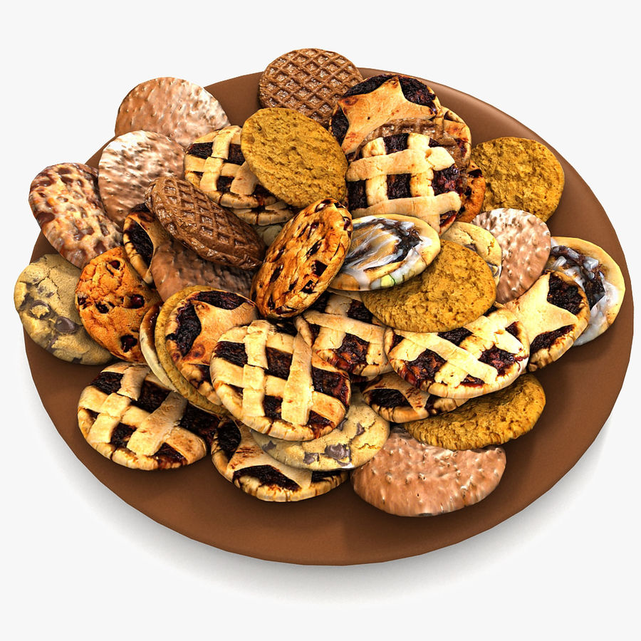 Bake Holiday Traditional Chocolate Cookies Sweet Mince On Plate Collection royalty-free 3d model - Preview no. 1