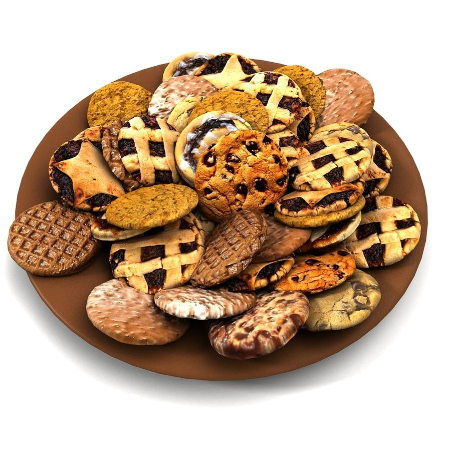 Bake Holiday Traditional Chocolate Cookies Sweet Mince On Plate Collection royalty-free 3d model - Preview no. 7