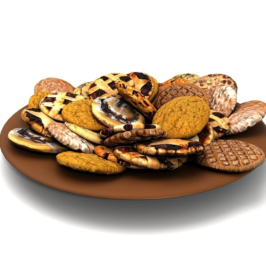 Bake Holiday Traditional Chocolate Cookies Sweet Mince On Plate Collection royalty-free 3d model - Preview no. 6