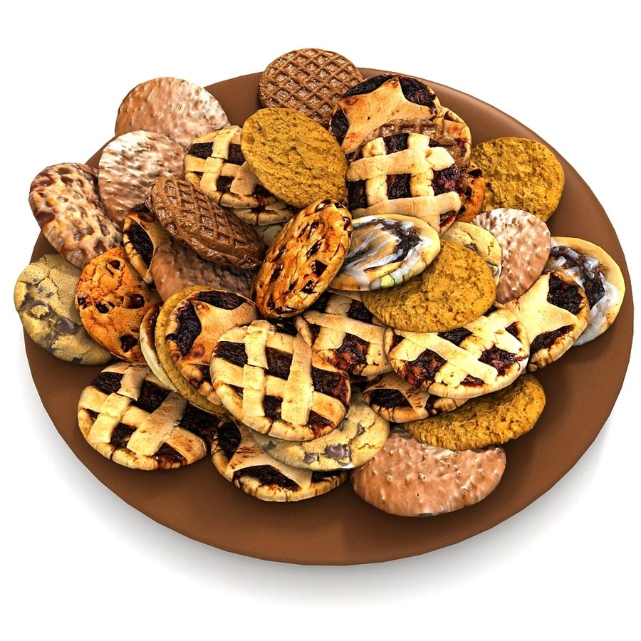 Bake Holiday Traditional Chocolate Cookies Sweet Mince On Plate Collection royalty-free 3d model - Preview no. 14