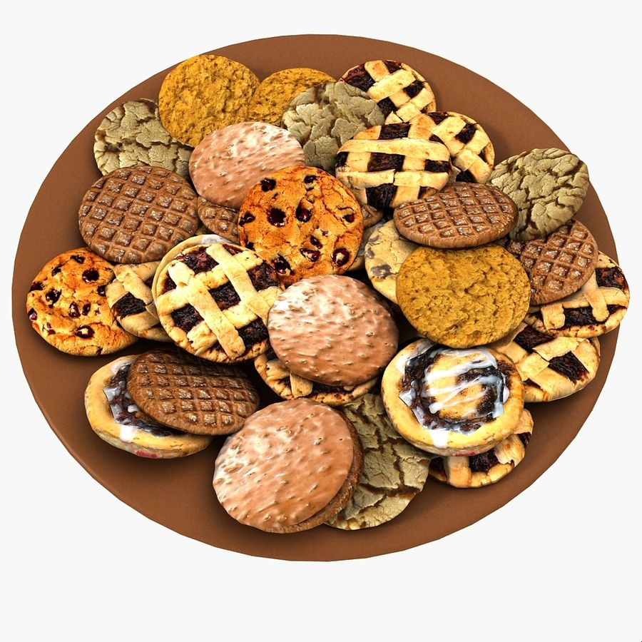 Bake Holiday Traditional Chocolate Cookies Sweet Mince On Plate Collection royalty-free 3d model - Preview no. 8