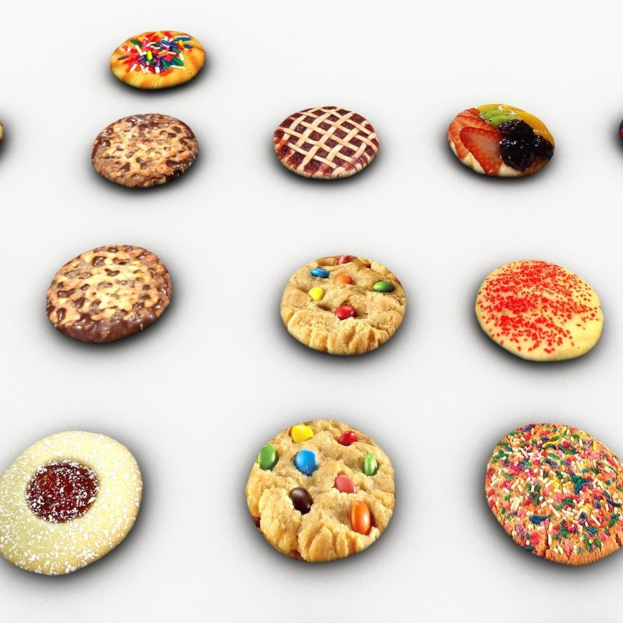 Bake Holiday Cookies Sweet Mince On Plate Collection royalty-free 3d model - Preview no. 24