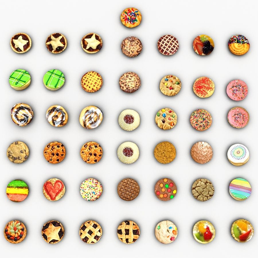 Bake Holiday Cookies Sweet Mince On Plate Collection royalty-free 3d model - Preview no. 16