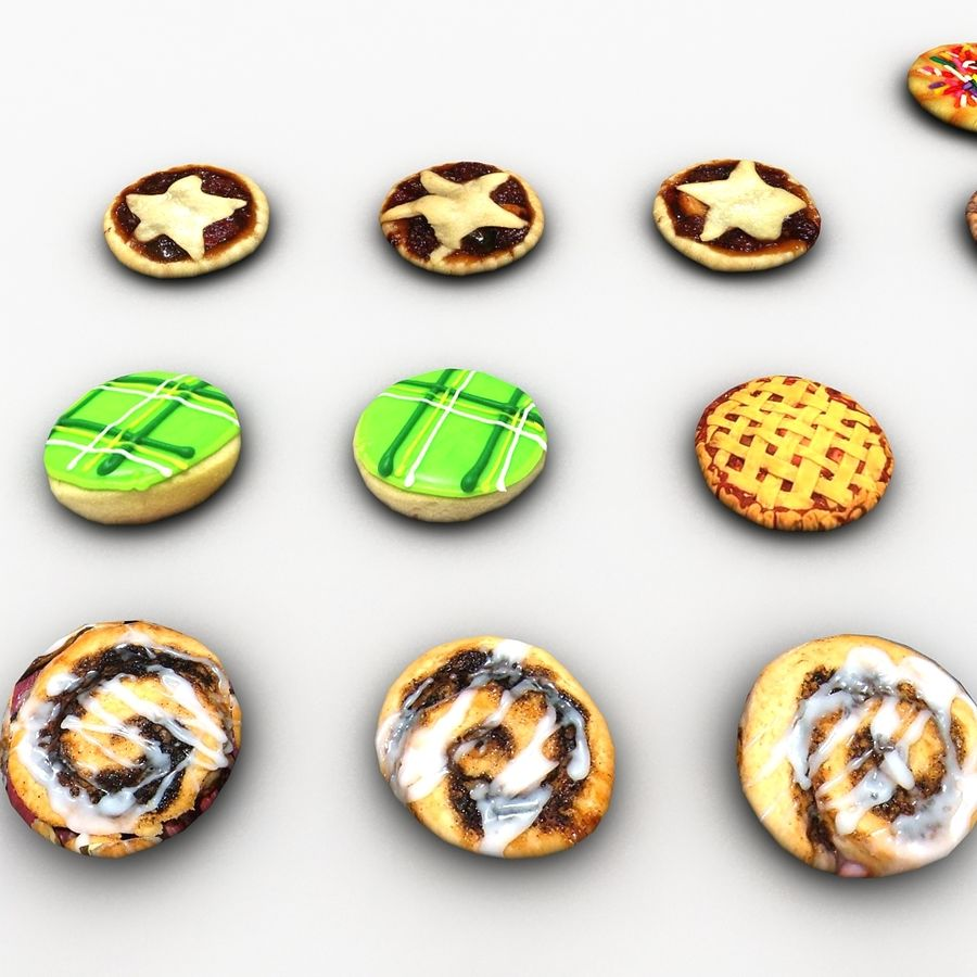 Bake Holiday Cookies Sweet Mince On Plate Collection royalty-free 3d model - Preview no. 18