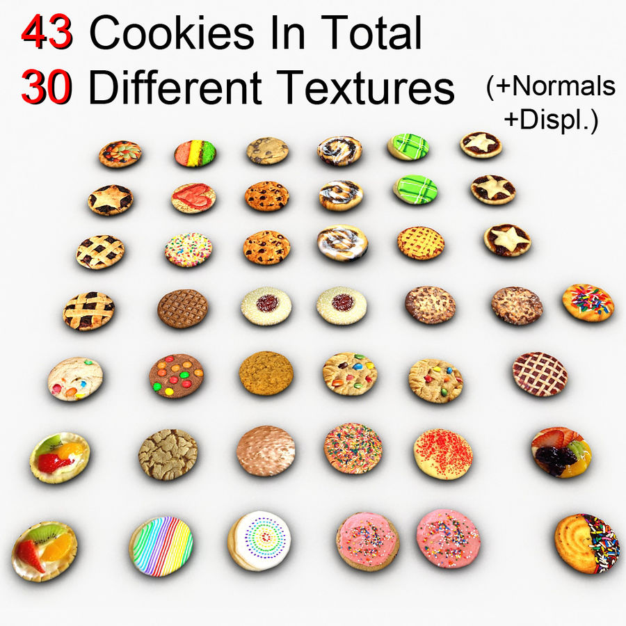Bake Holiday Cookies Sweet Mince On Plate Collection royalty-free 3d model - Preview no. 15