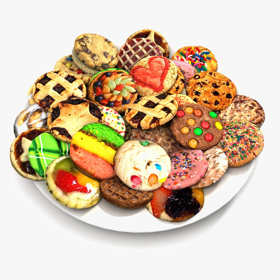 Bake Holiday Cookies Sweet Mince On Plate Collection royalty-free 3d model - Preview no. 1