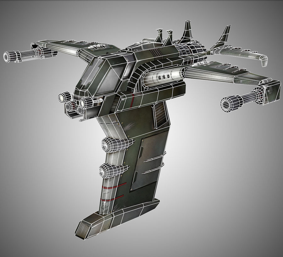 Space Ship Fighter royalty-free 3d model - Preview no. 4