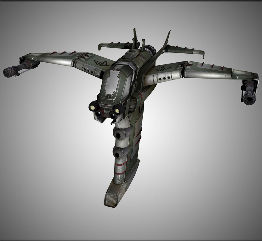 Space Ship Fighter royalty-free 3d model - Preview no. 1