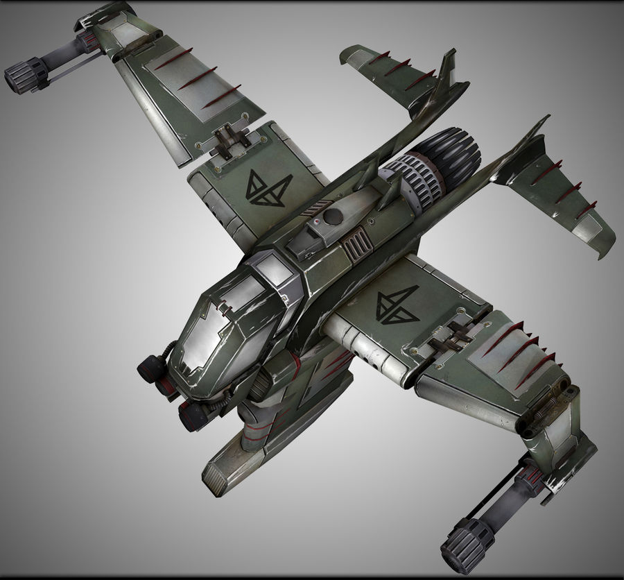 Space Ship Fighter royalty-free 3d model - Preview no. 2