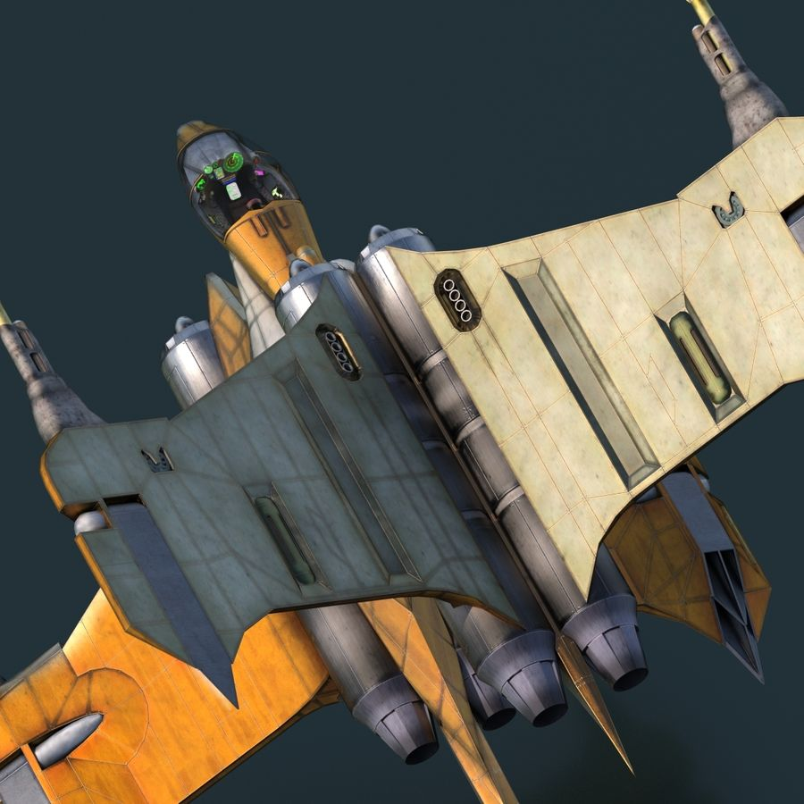 T-Fighter Spacefighter (maxwell materials) royalty-free 3d model - Preview no. 38