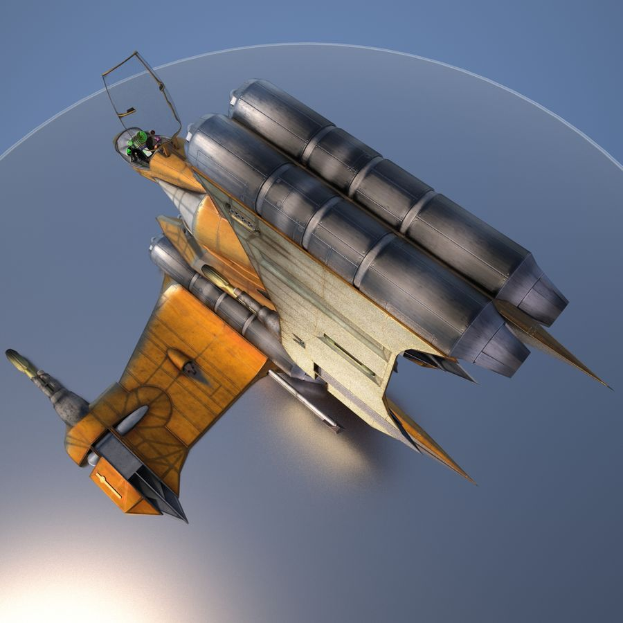T-Fighter Spacefighter (maxwell materials) royalty-free 3d model - Preview no. 5