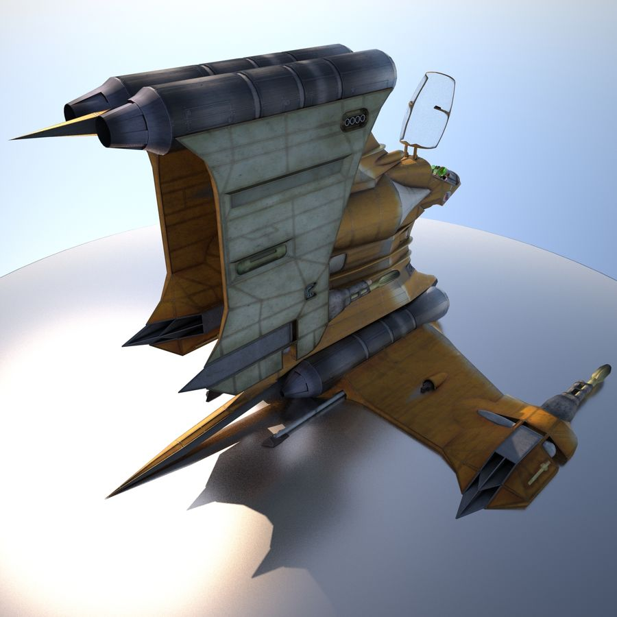 T-Fighter Spacefighter (maxwell materials) royalty-free 3d model - Preview no. 2
