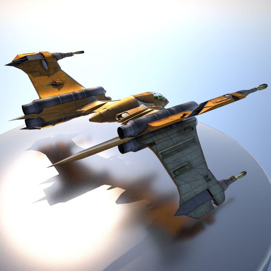 T-Fighter Spacefighter (maxwell materials) royalty-free 3d model - Preview no. 22