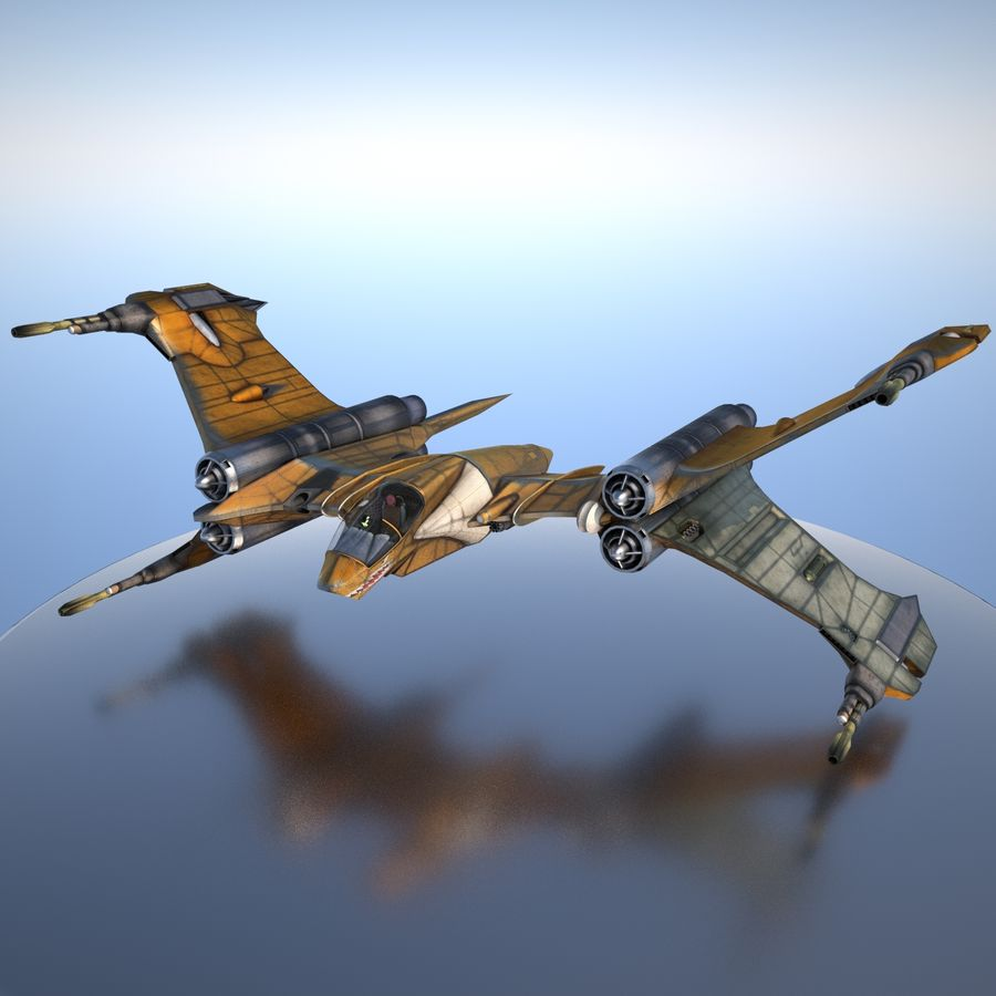 T-Fighter Spacefighter (maxwell materials) royalty-free 3d model - Preview no. 1