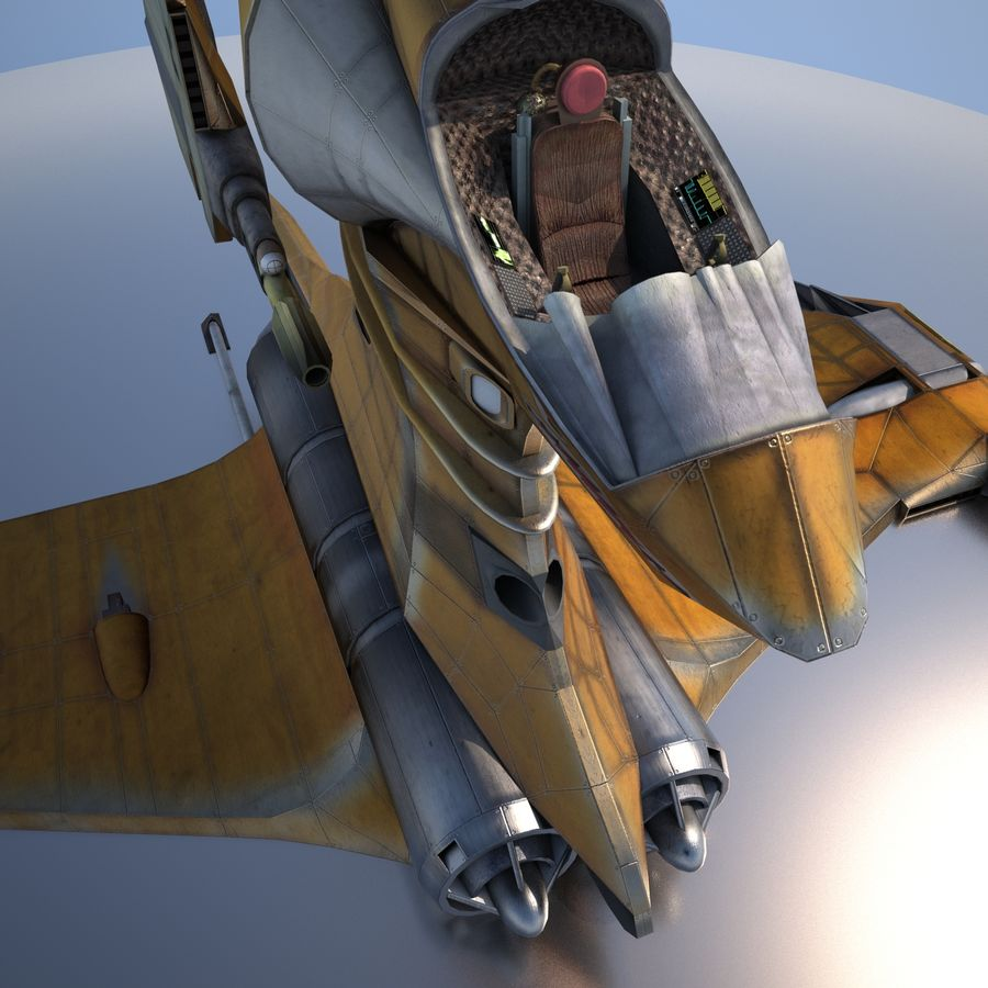 T-Fighter Spacefighter (maxwell materials) royalty-free 3d model - Preview no. 10