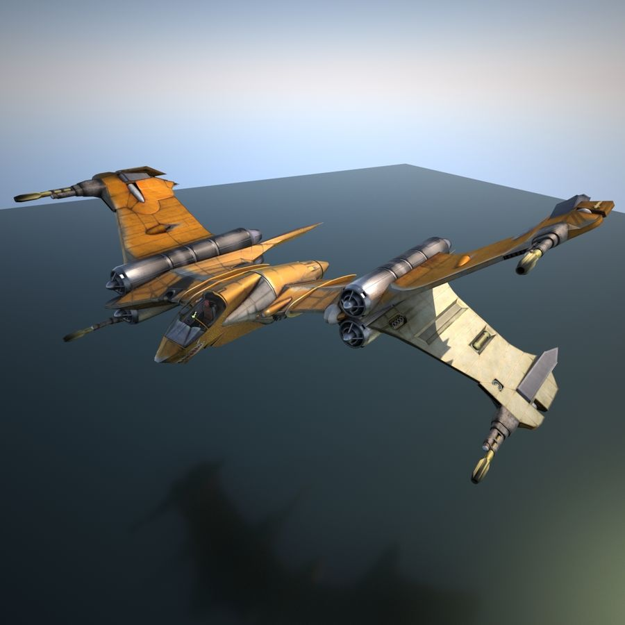 T-Fighter Spacefighter (maxwell materials) royalty-free 3d model - Preview no. 19