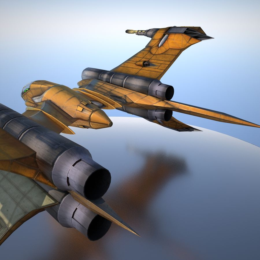 T-Fighter Spacefighter (maxwell materials) royalty-free 3d model - Preview no. 26
