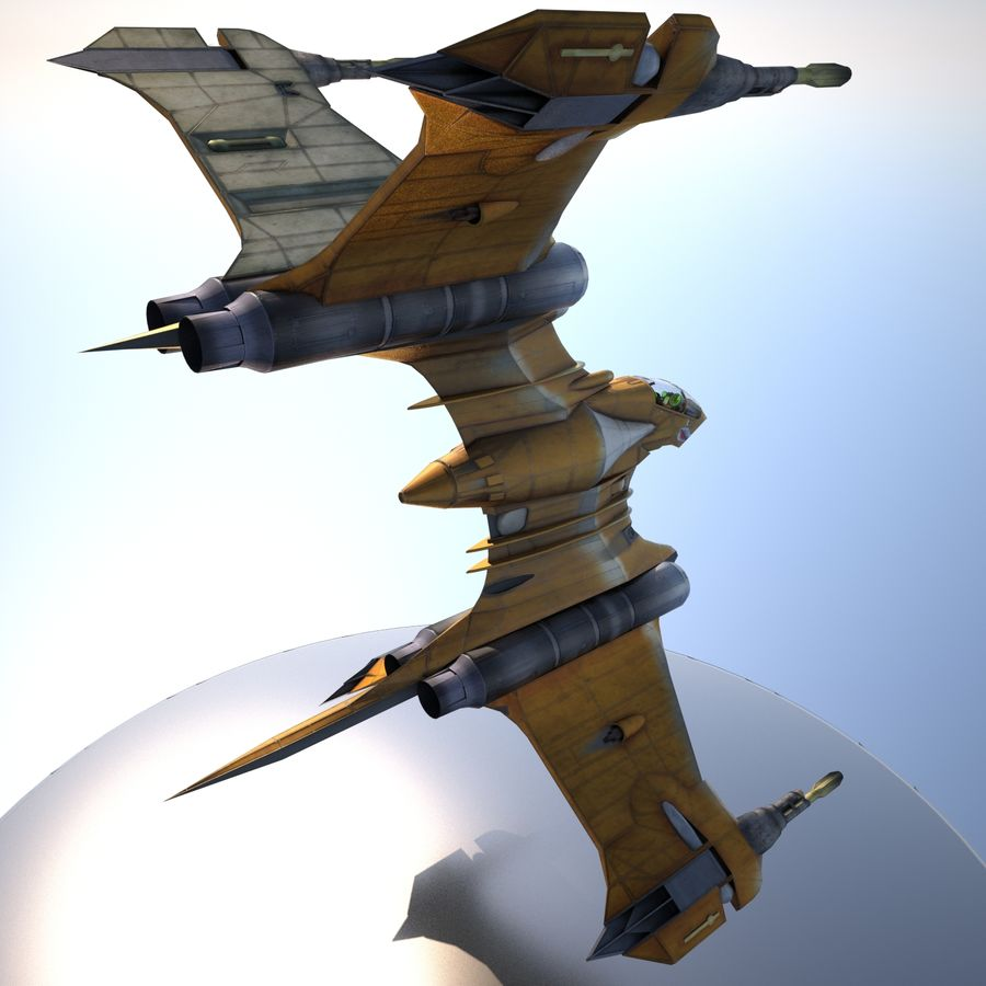 T-Fighter Spacefighter (maxwell materials) royalty-free 3d model - Preview no. 32