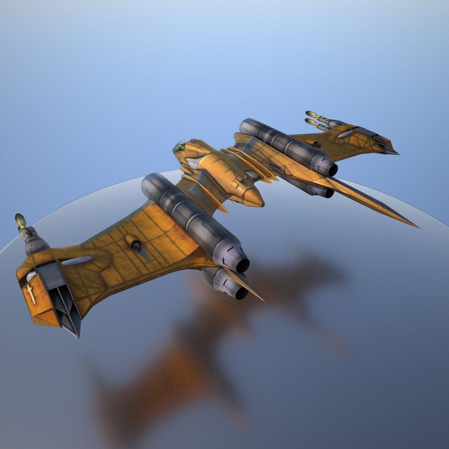 T-Fighter Spacefighter (maxwell materials) royalty-free 3d model - Preview no. 13