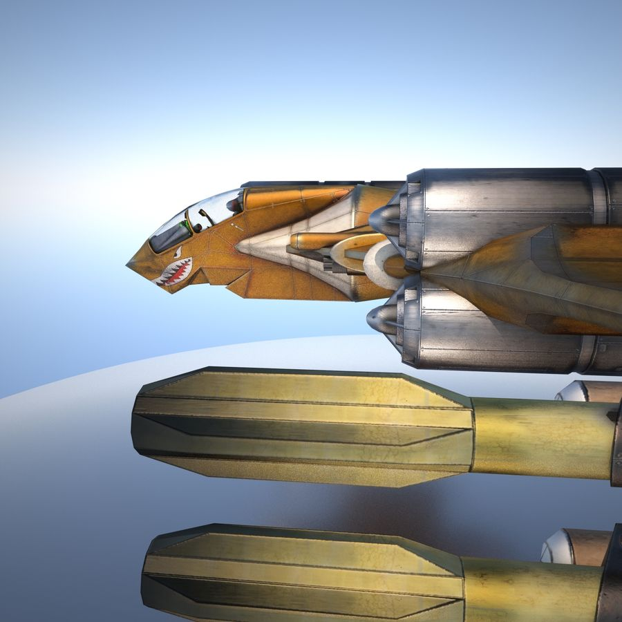 T-Fighter Spacefighter (maxwell materials) royalty-free 3d model - Preview no. 16