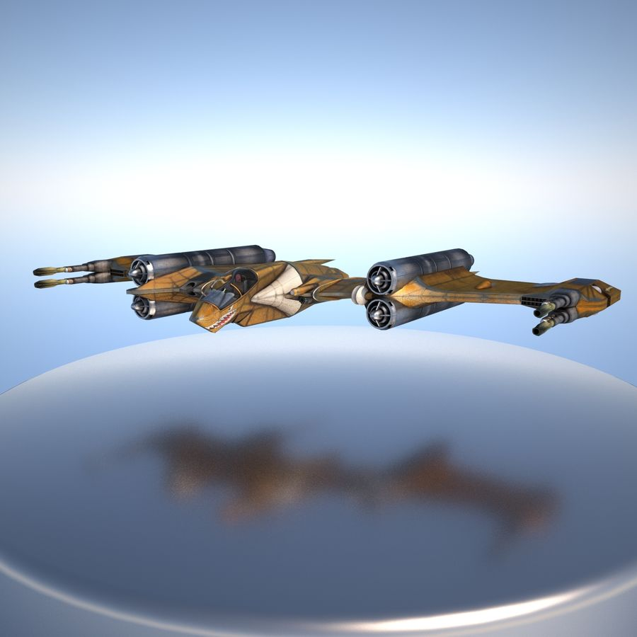T-Fighter Spacefighter (maxwell materials) royalty-free 3d model - Preview no. 11