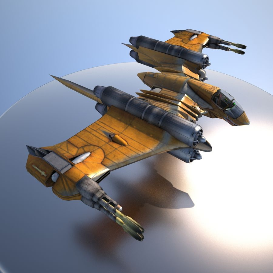 T-Fighter Spacefighter (maxwell materials) royalty-free 3d model - Preview no. 12