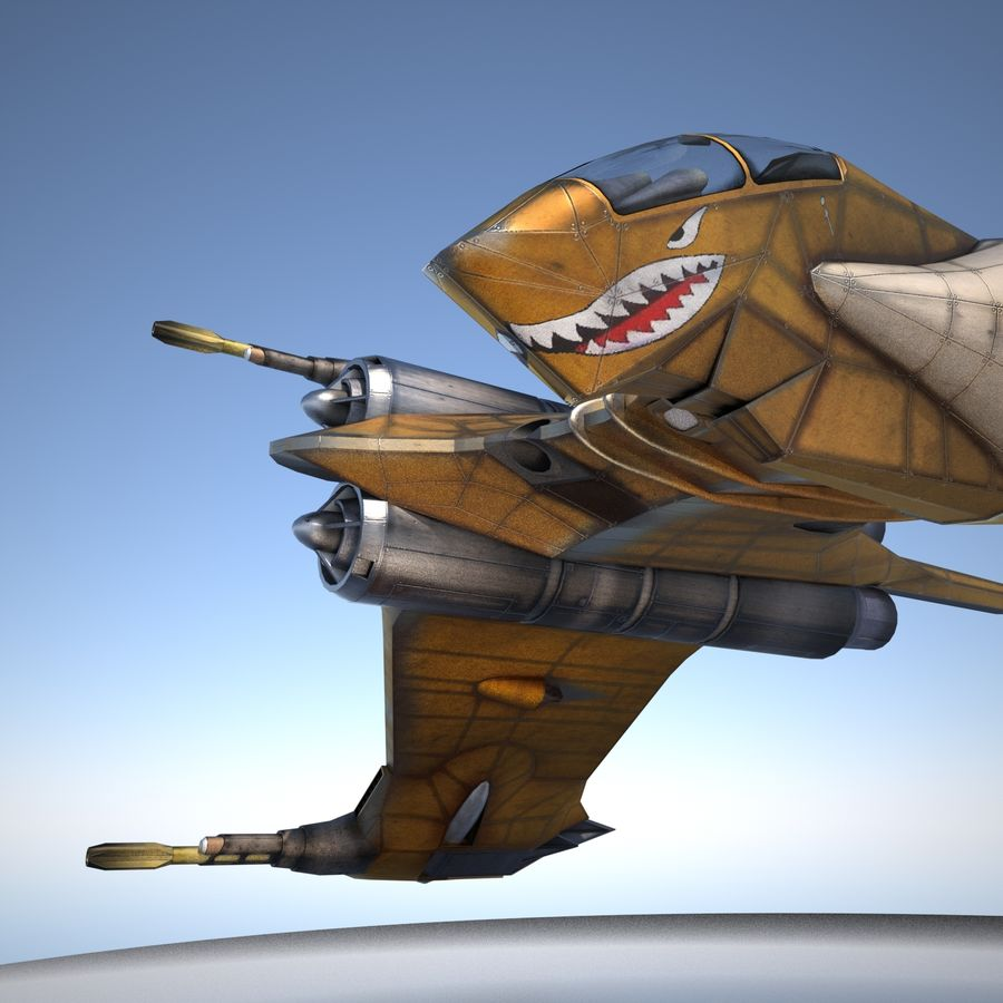 T-Fighter Spacefighter (maxwell materials) royalty-free 3d model - Preview no. 30