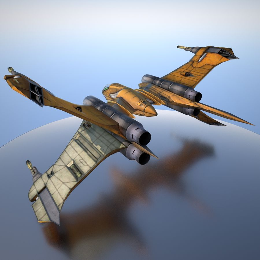 T-Fighter Spacefighter (maxwell materials) royalty-free 3d model - Preview no. 21