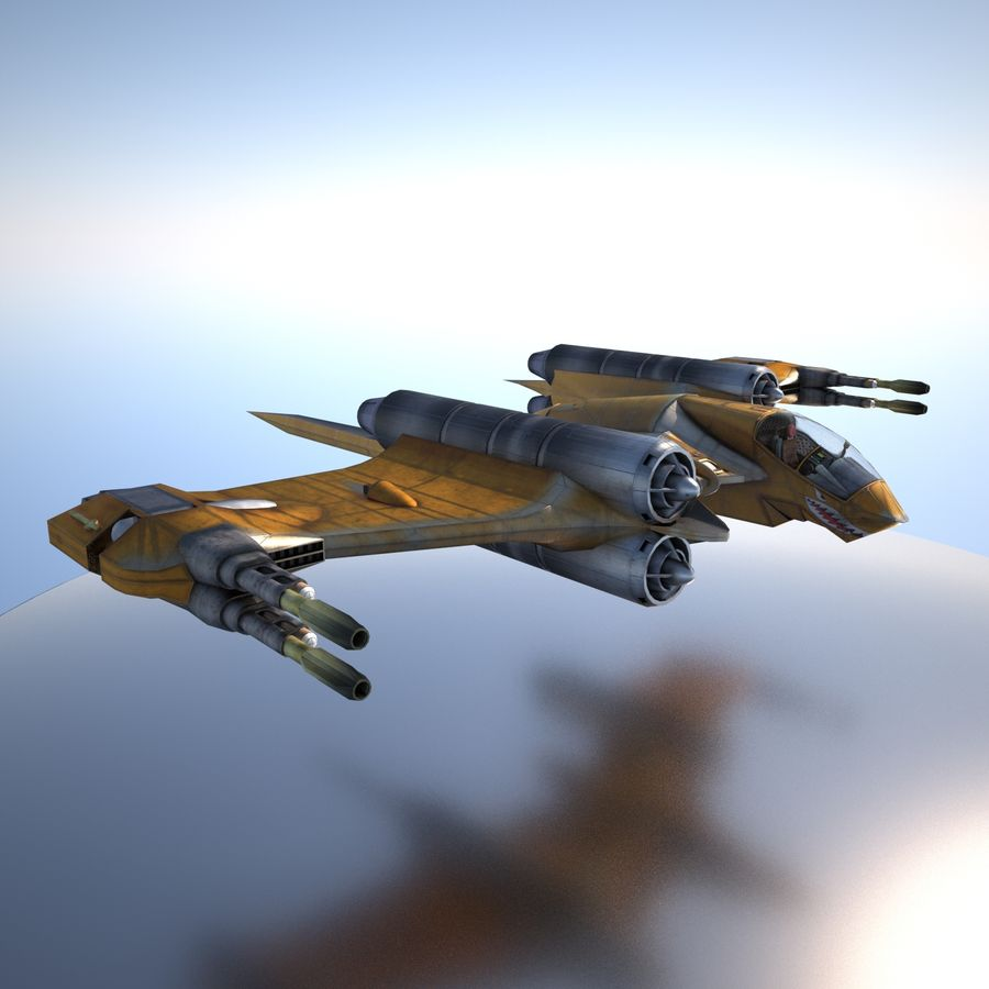 T-Fighter Spacefighter (maxwell materials) royalty-free 3d model - Preview no. 14