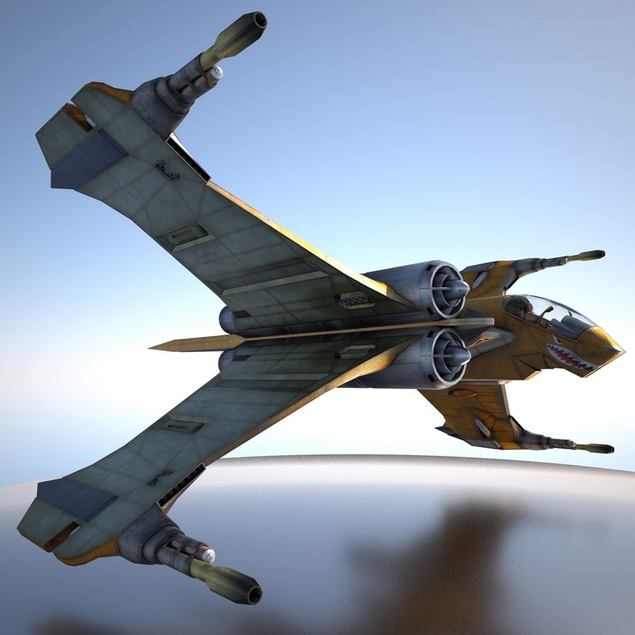 T-Fighter Spacefighter (maxwell materials) royalty-free 3d model - Preview no. 20