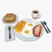 Śniadanie z jajkiem i szynką 3d model