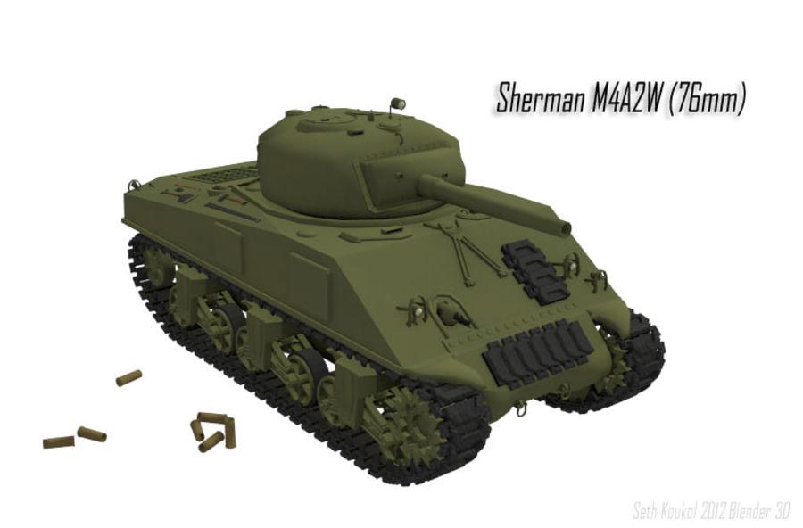 Sherman Tank royalty-free 3d model - Preview no. 3