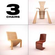 3 krzesła 3d model