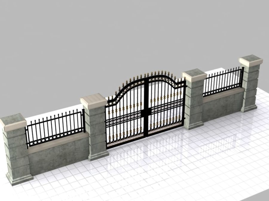 Wrought Iron Gate 16 royalty-free 3d model - Preview no. 3