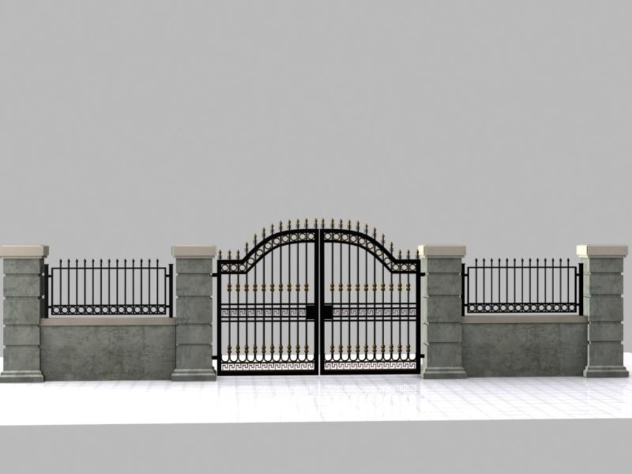 Wrought Iron Gate 16 royalty-free 3d model - Preview no. 4