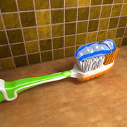 Tooth brush with Toothpaste 3d model