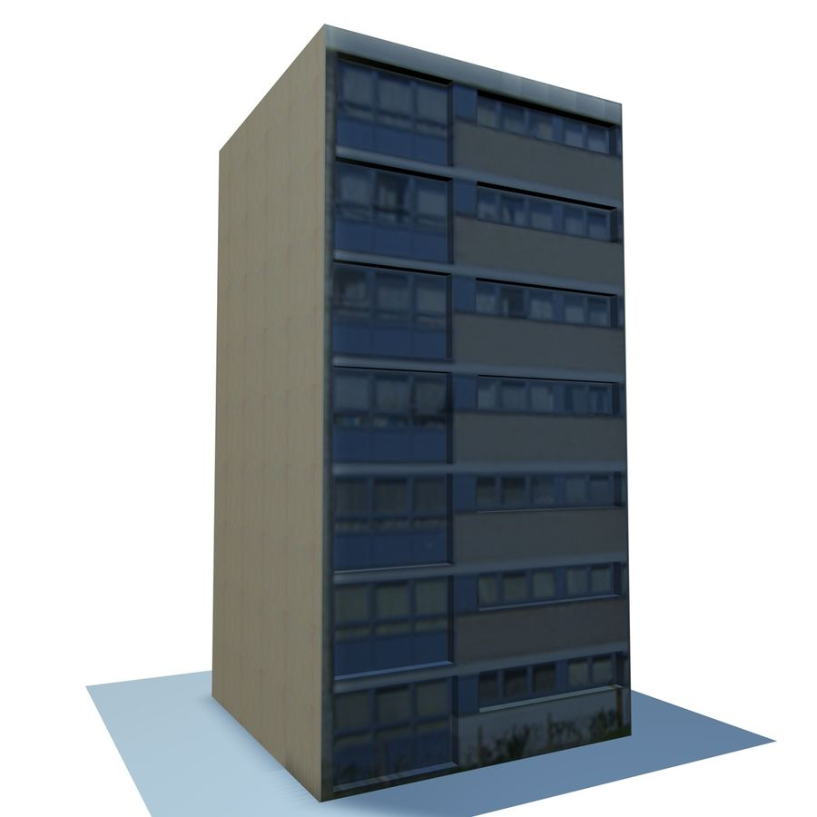 Low Poly Urban Wohnungen 1C royalty-free 3d model - Preview no. 3