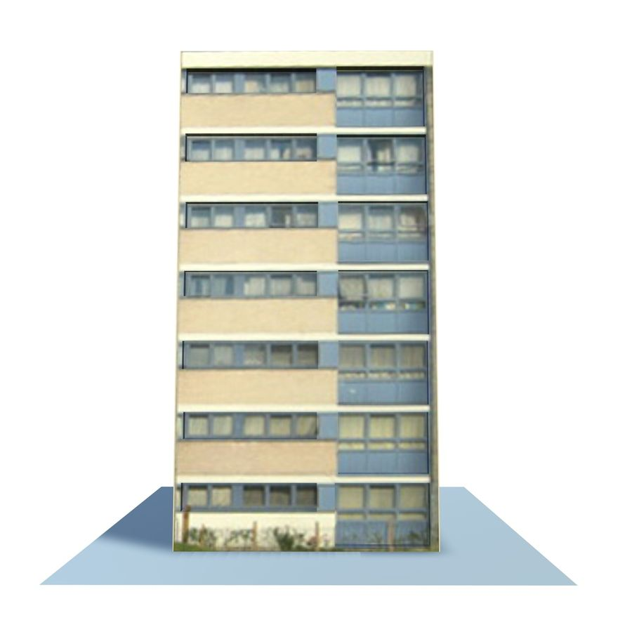 Low Poly Urban Wohnungen 1C royalty-free 3d model - Preview no. 5