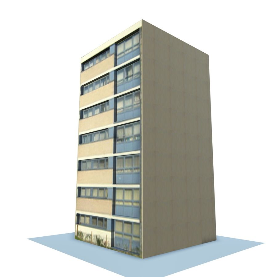 Low Poly Urban Wohnungen 1C royalty-free 3d model - Preview no. 2