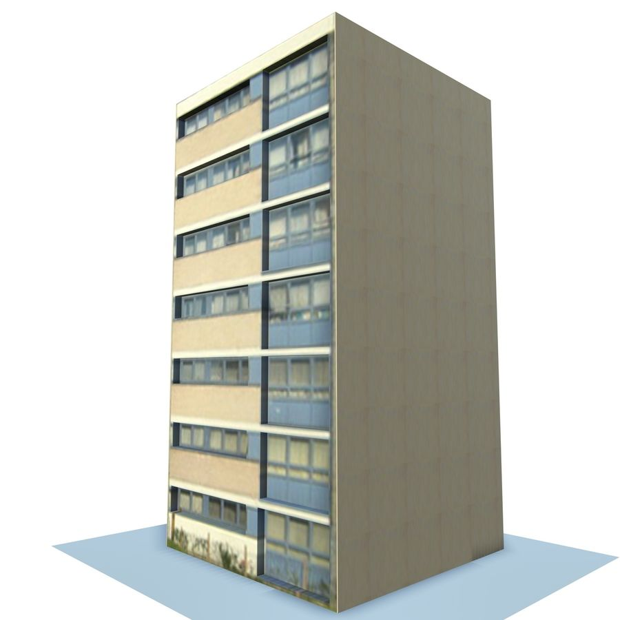 Low Poly Urban Wohnungen 1C royalty-free 3d model - Preview no. 6