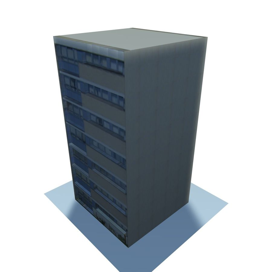Low Poly Urban Wohnungen 1C royalty-free 3d model - Preview no. 4