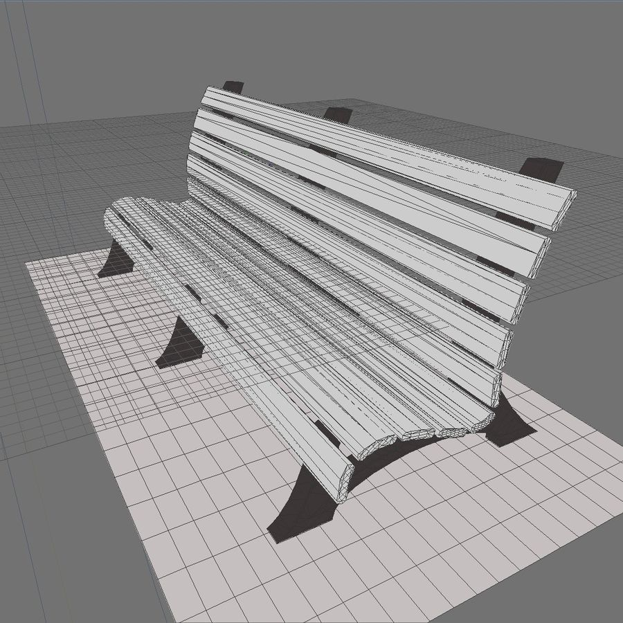 Park Bench 2 royalty-free 3d model - Preview no. 8