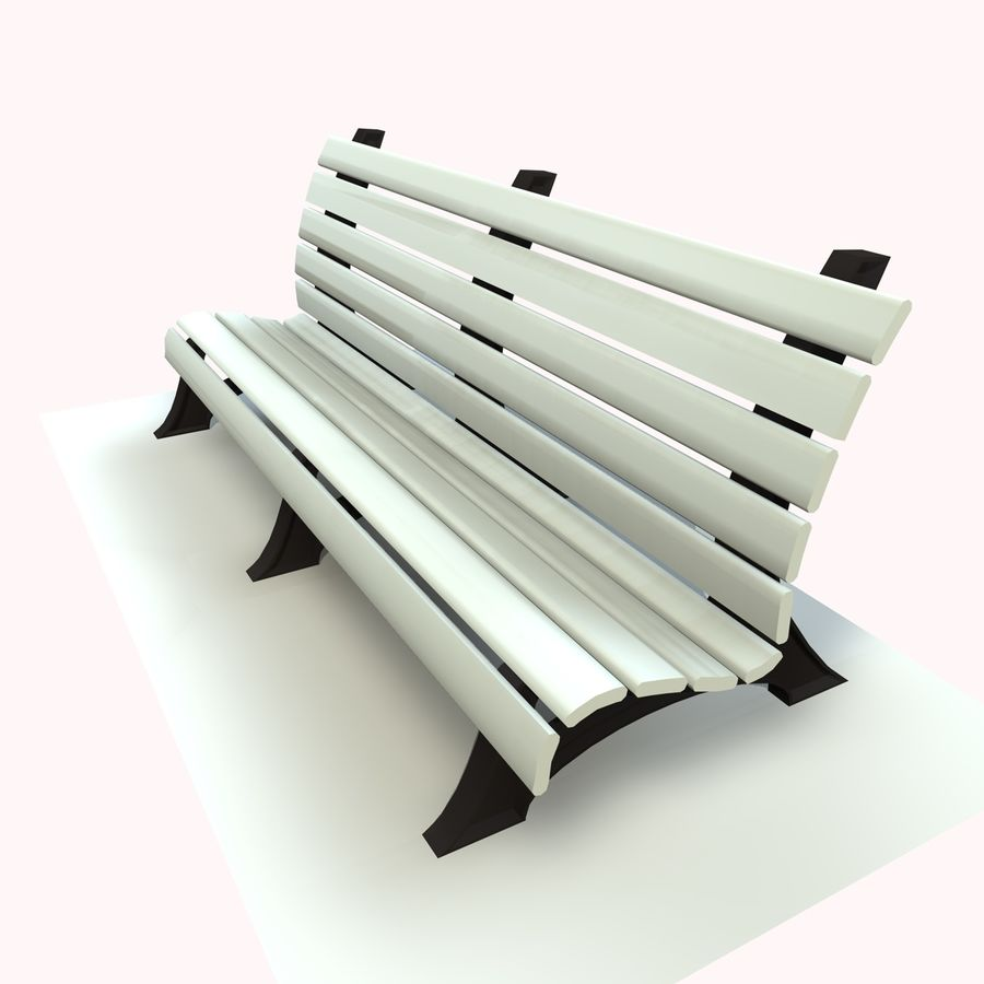 Park Bench 2 royalty-free 3d model - Preview no. 5