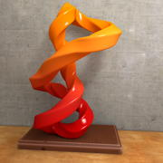 Rzeźba i zmięta nowoczesna rzeźba artystyczna 3d model