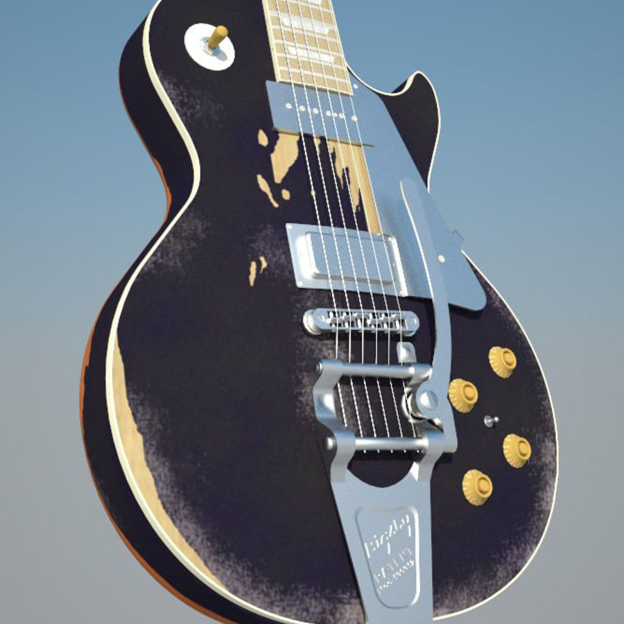 Gibson Les Paul Old black royalty-free 3d model - Preview no. 1