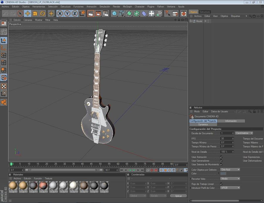 Gibson Les Paul Old black royalty-free 3d model - Preview no. 3