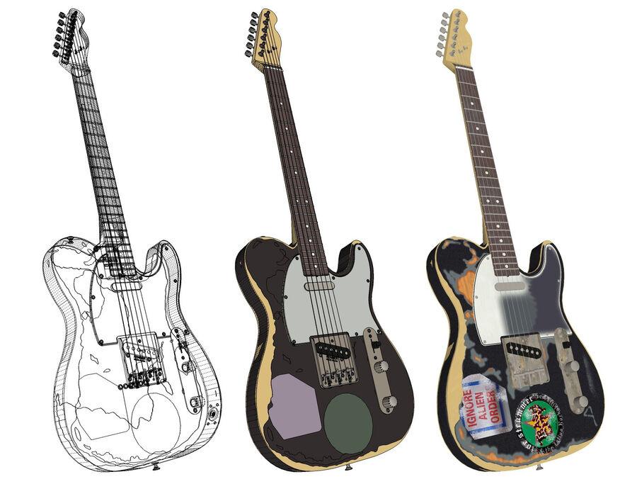 Fender Telecaster Joe Strummer royalty-free 3d model - Preview no. 6