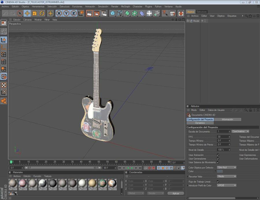 Fender Telecaster Joe Strummer royalty-free 3d model - Preview no. 5